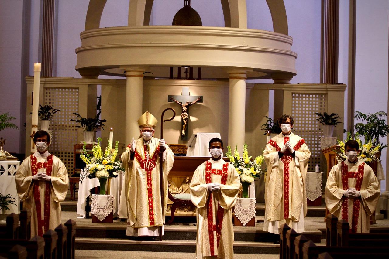 Christopher Kellerman, Arch. Terrence Pendergast, Oshish Tirkey, Fr. Michael Rosinski, and Trevor Rainwater